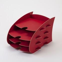 Porte-documents rouge en bois, résistant et écoresponsable