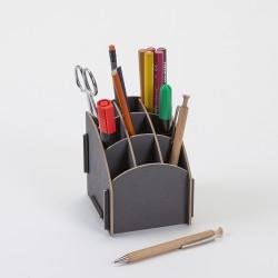 Porte crayons pratique et robuste gris avec 9 compartiments en bois