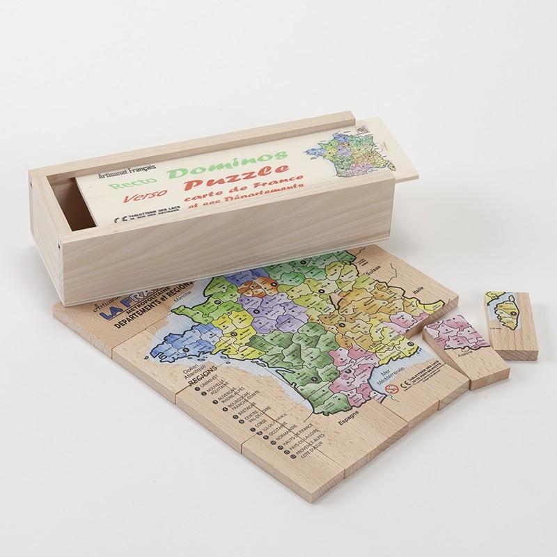 2 jeux en 1 (double face) puzzle de la carte de France et domino en bois