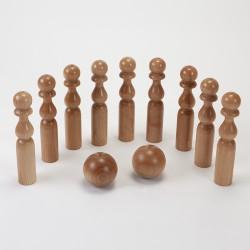 Quilles 24 cm et 2 boules en bois