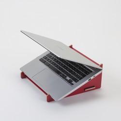 Support pour ordinateur portable rouge en bois