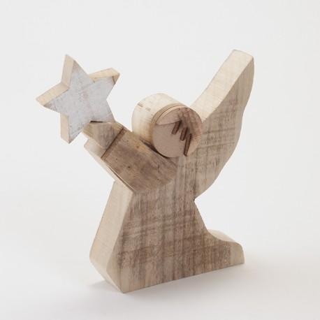 Ange avec étoile en bois 28 cm
