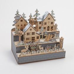 Lampe Village hivernal en bois 3 niveaux