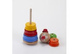 Clown culbuto jouet empilable en bois