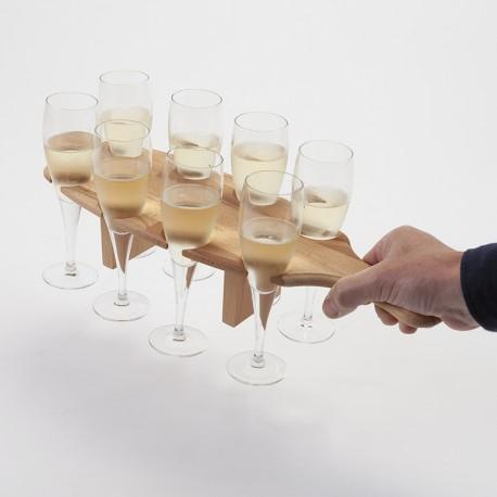 Plateau porte-flûtes à champagne en bois