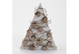 Sapin blanchi avec rondins et ficelle , hauteur 43 cm en bois