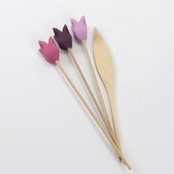 Bouquet tulipes en bois 3 fleurs violine